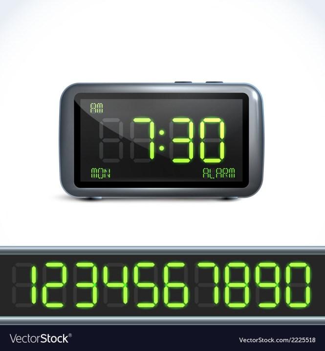 Digital Alarm Clock Numbers Royalty