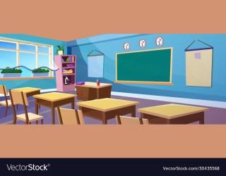 Secondary school classroom interior cartoon Vector Image