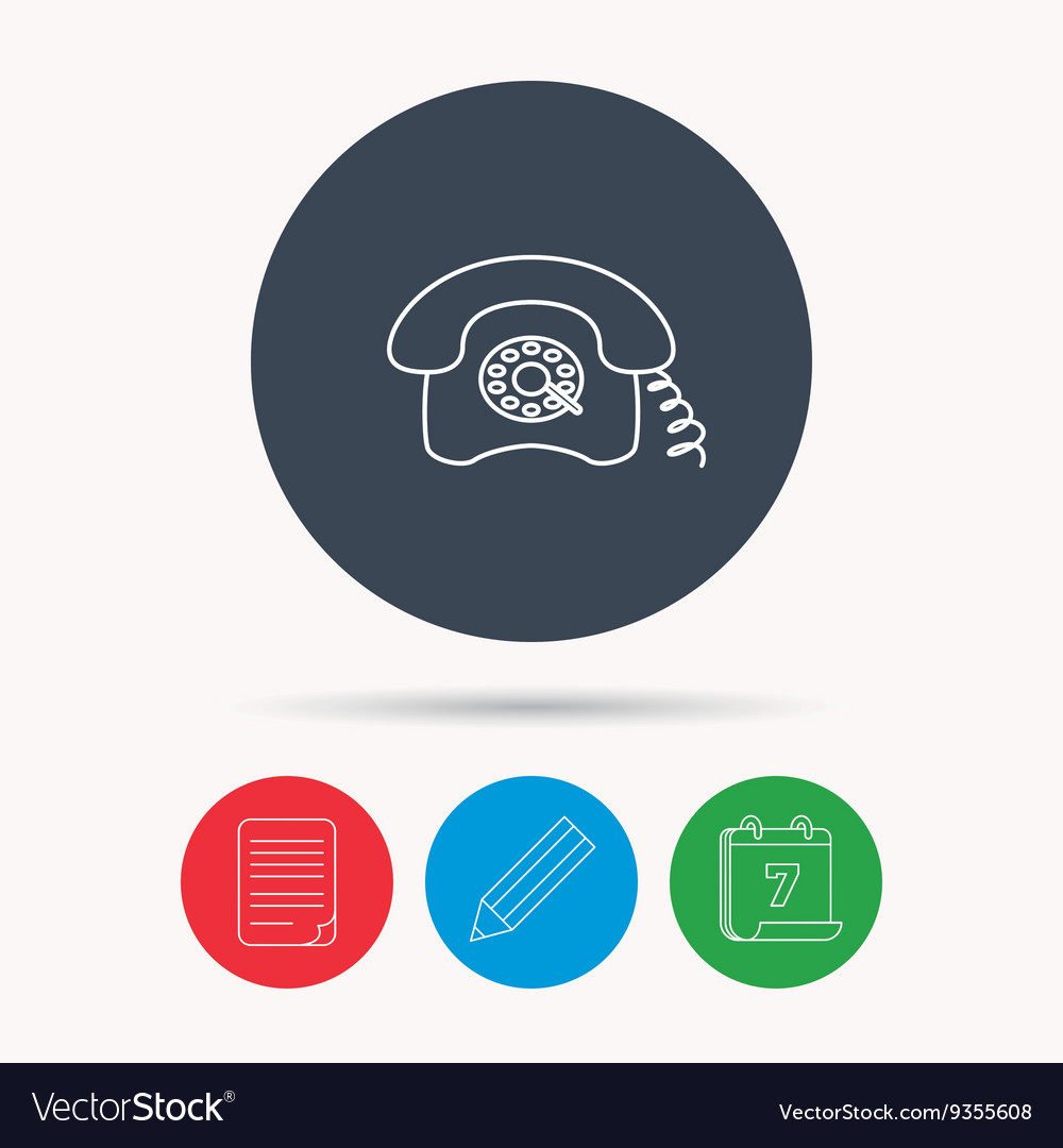 hight resolution of retro phone icon old telephone sign vector image