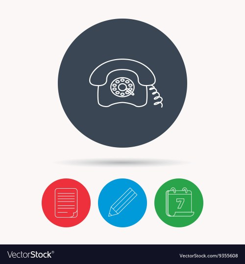 small resolution of retro phone icon old telephone sign vector image