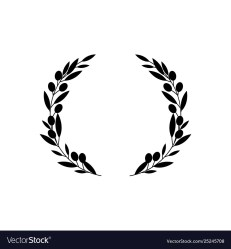 Circle frame from black silhouette two olive Vector Image