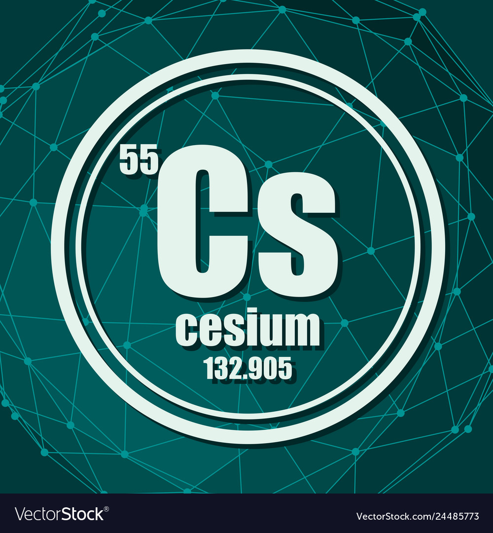 hight resolution of cesium chemical element vector image