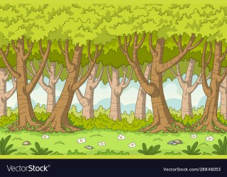 Cartoon forest background Royalty Free Vector Image