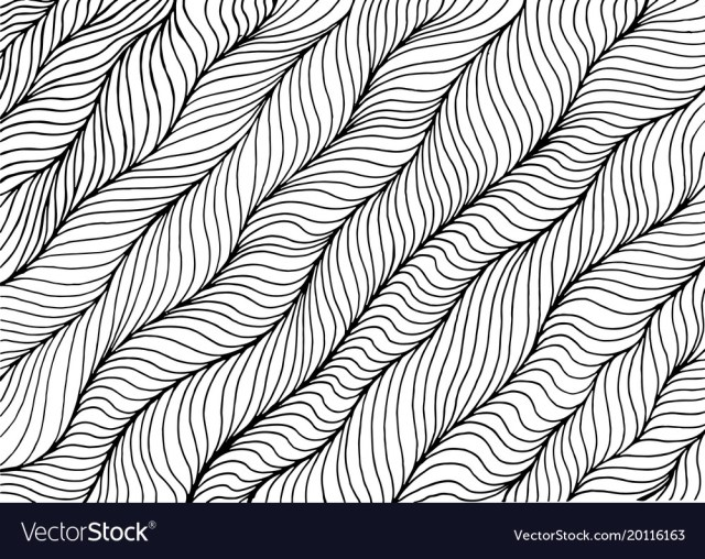 Wave striped abstract coloring page doodle art Vector Image