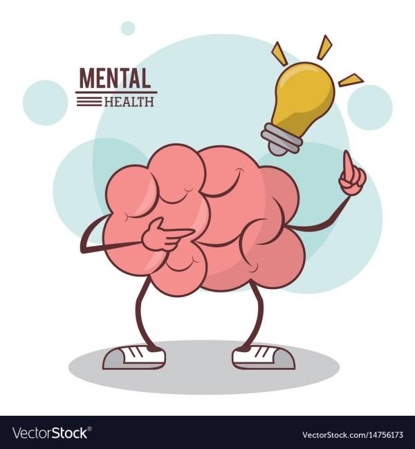 Mental Health Cartoon Brain Bulb Illumination Vector
