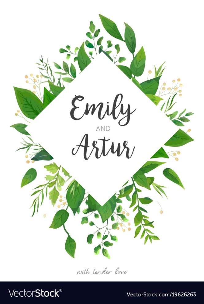 Green Wedding Invitation Fl Invite Card Design Vector Image