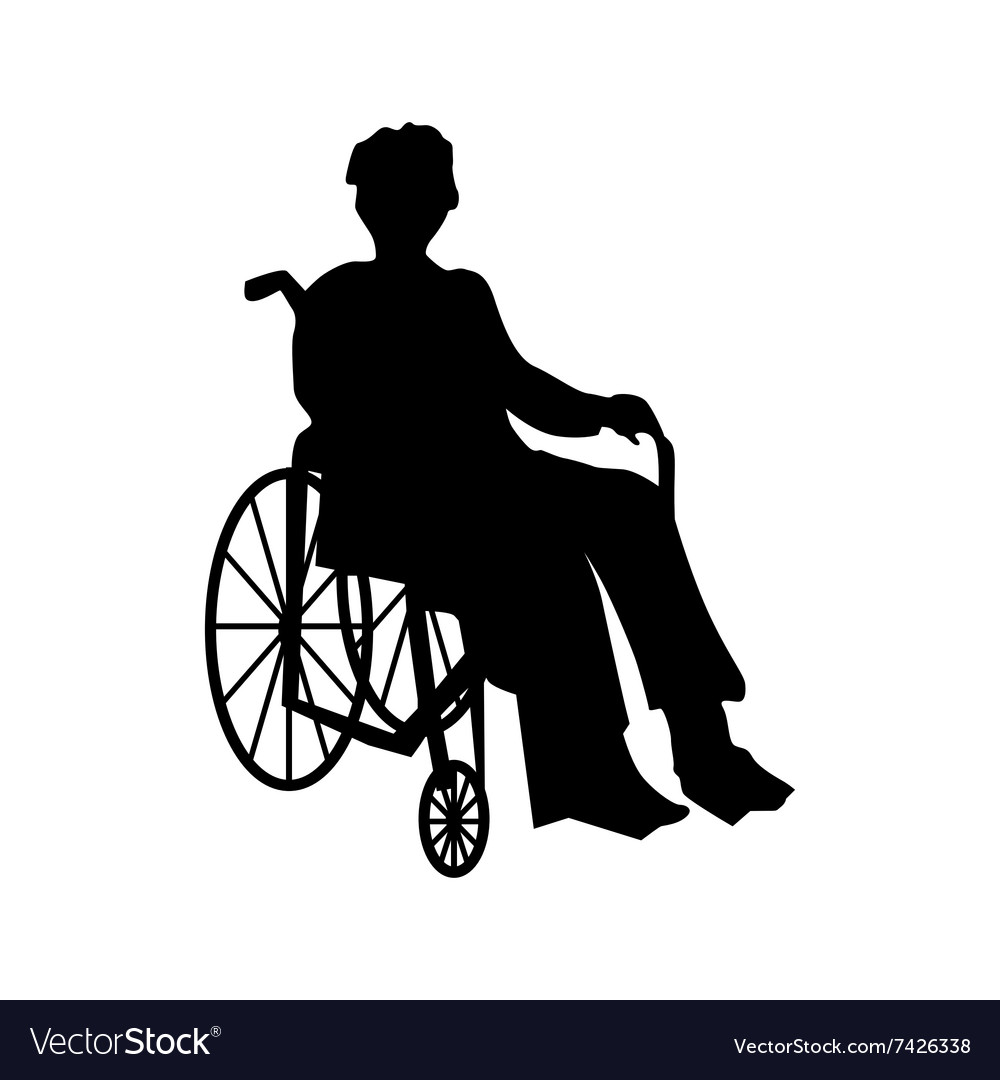 wheelchair man kitchen table and chair set or woman in silhouette royalty free vector image