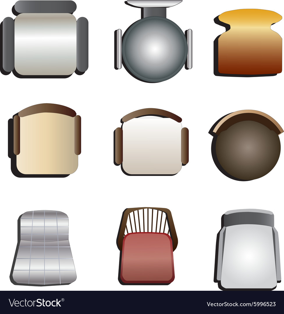 Chair top view set 3 Royalty Free Vector Image
