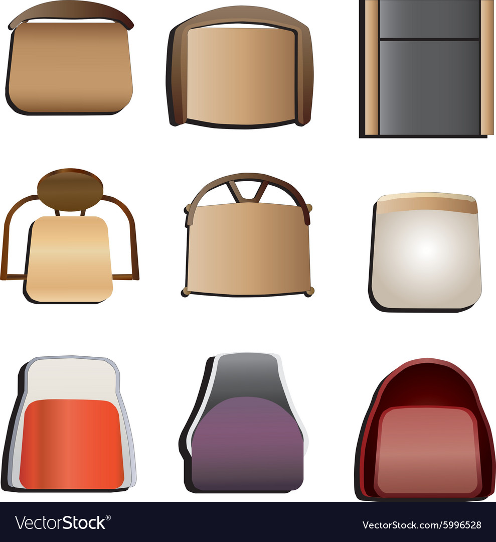 Chair top view set 5 Royalty Free Vector Image