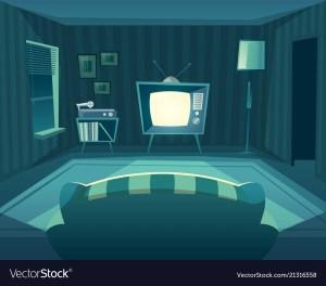 cartoon night living tv vector interior illustration sofa background vinyl royalty player vectors window illustrations drawing hall clipart office freepik