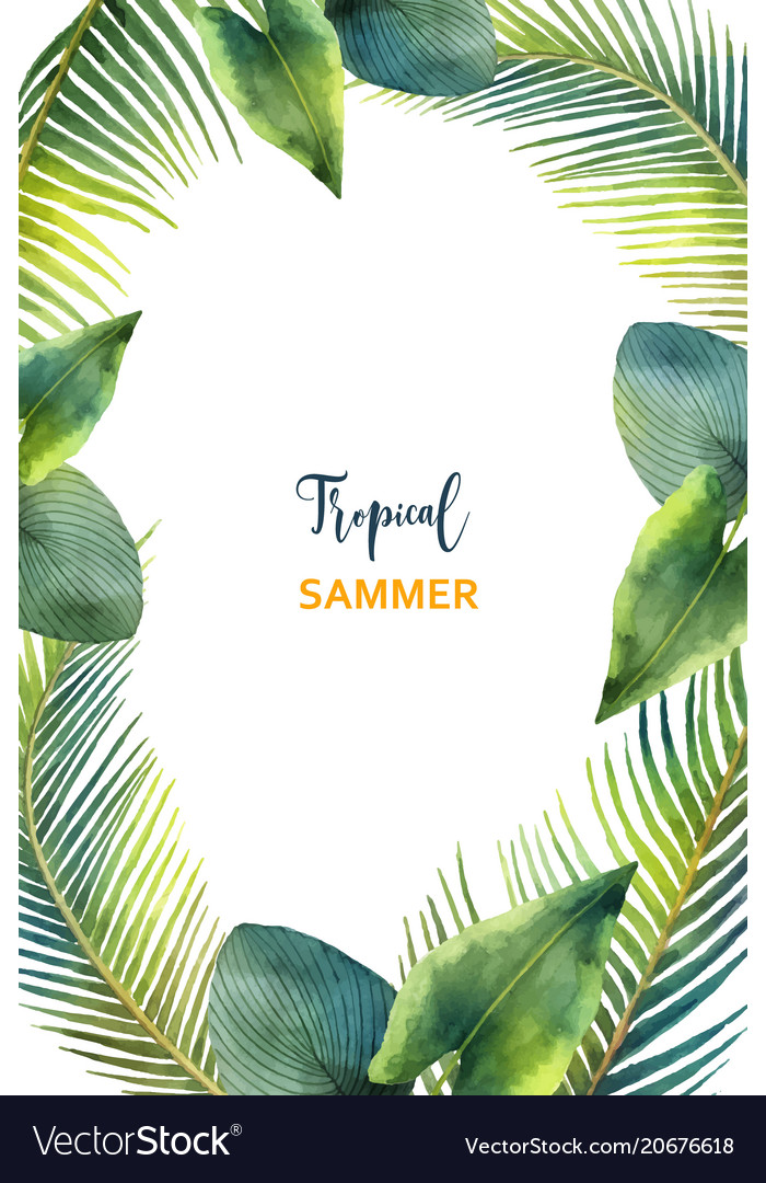 Watercolor Frame Tropical Leaves And Royalty Free Vector