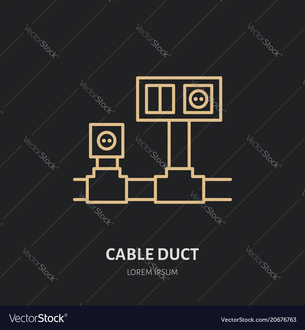 hight resolution of cable duct with power socket and light switch flat vector image