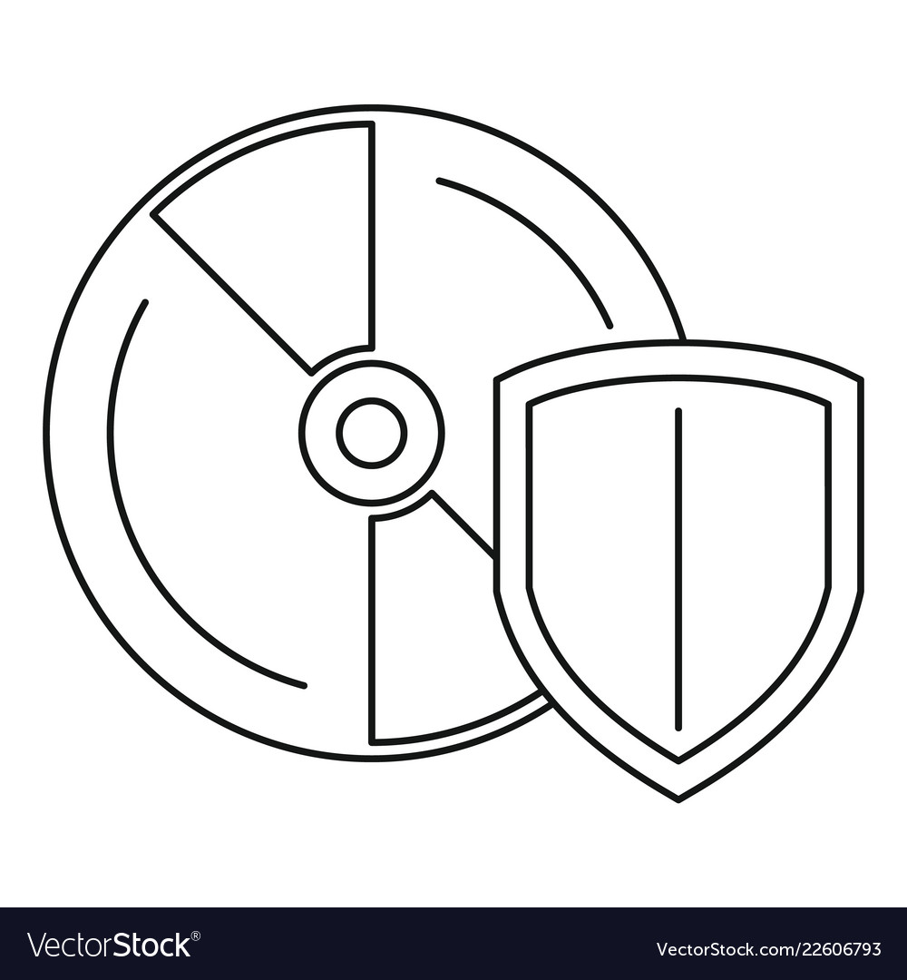 hight resolution of secured cd disk icon outline style vector image