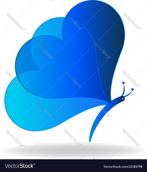 small resolution of blue heart butterfly icon vector image