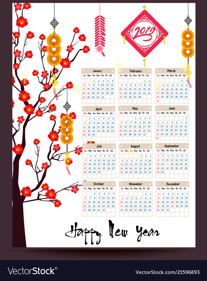 Calendar 2019 chinese calendar for happy new year Vector Image
