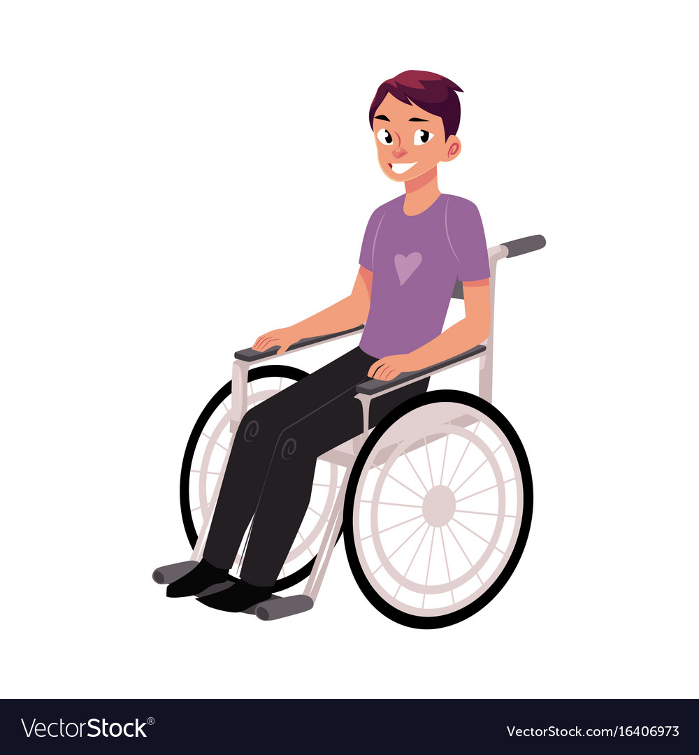 wheelchair man target sling chair tan young sitting in rehabilitation vector image
