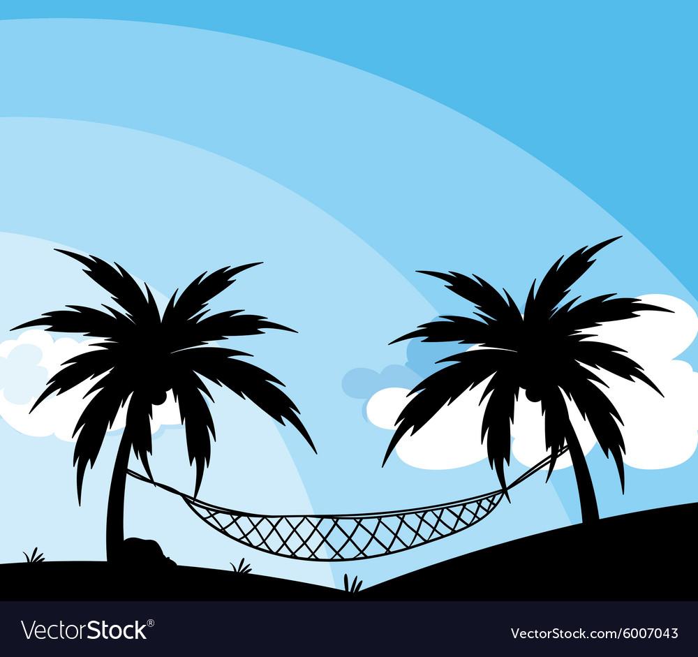 silhouette of hammock between