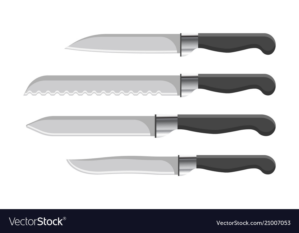 sharp kitchen knives wall decor set with plastic handles vector image