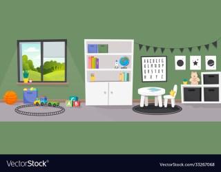 Kindergarten or kid room interior empty cartoon Vector Image