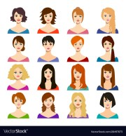 cartoon woman hairstyles icons