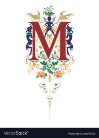 Vintage letter m Royalty Free Vector Image - VectorStock