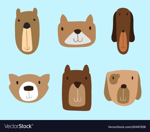 small resolution of dogs clipart set for commercial use vector image