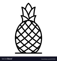 Whole pineapple icon outline style Royalty Free Vector Image
