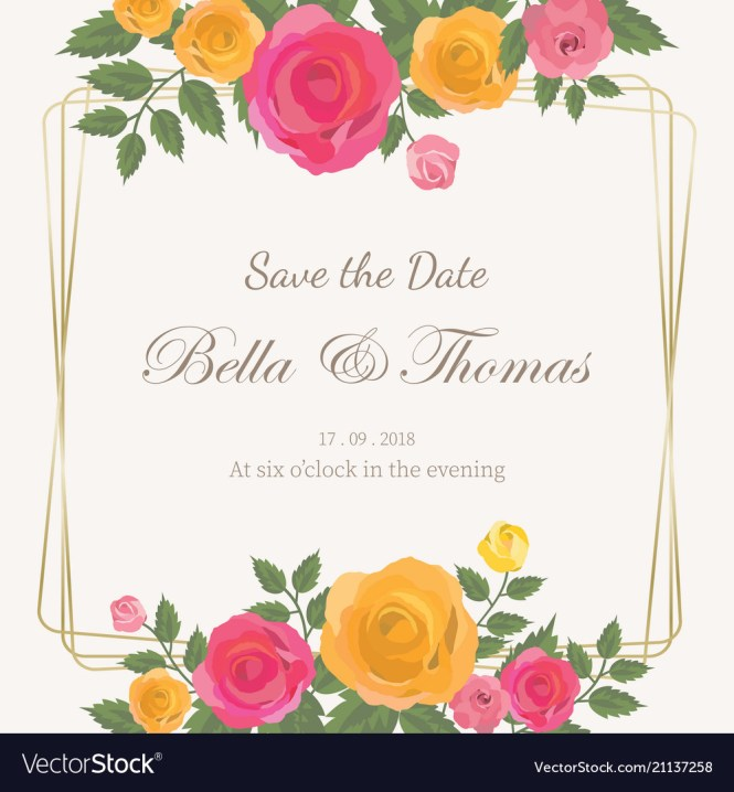 Pink And Yellow Roses Bouquet Wedding Invitation