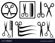 scissors icons with comb hair