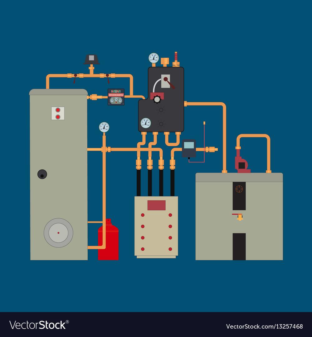 hight resolution of heat pump heating system vector image