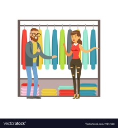 Man choosing clothing with shop assistant help Vector Image
