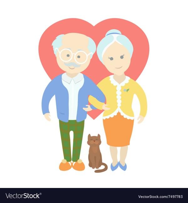 Happy Cute Couple - Grandma And Grandpa Vector