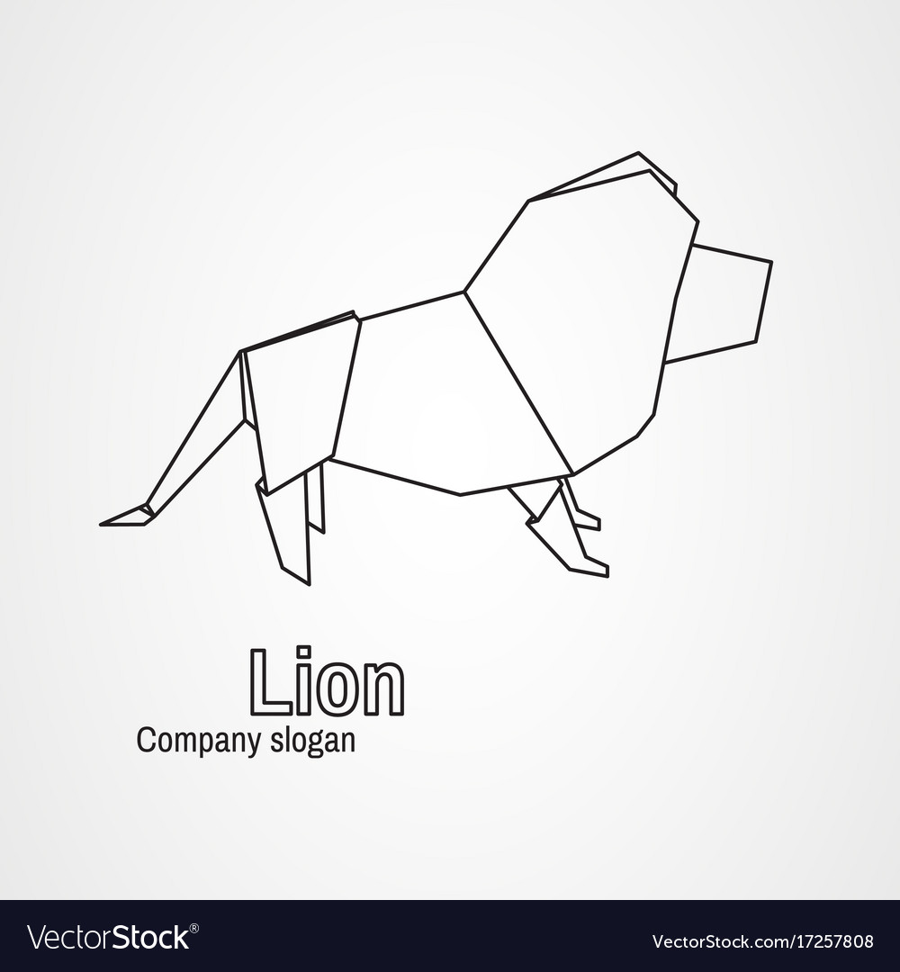 hight resolution of origami logo contour lion vector image