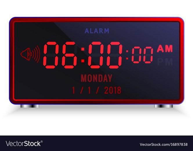 Led Alarm Clock With Calendar Vector Image