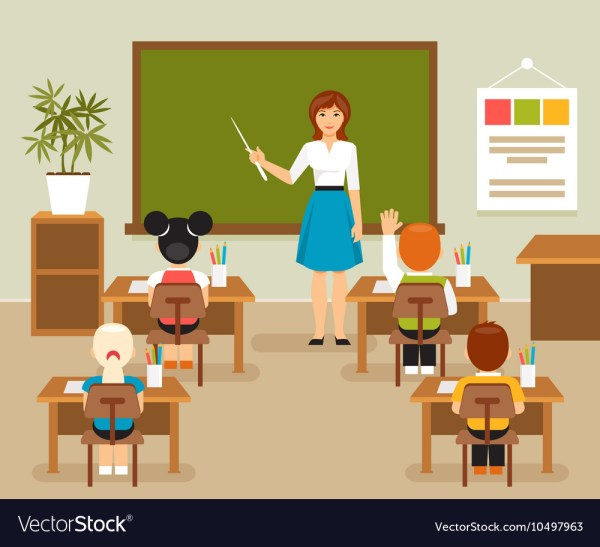Classroom With Teacher And Students Royalty Free Vector