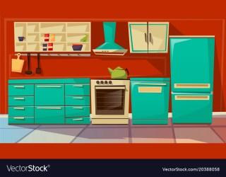 Modern kitchen interior background cartoon Vector Image