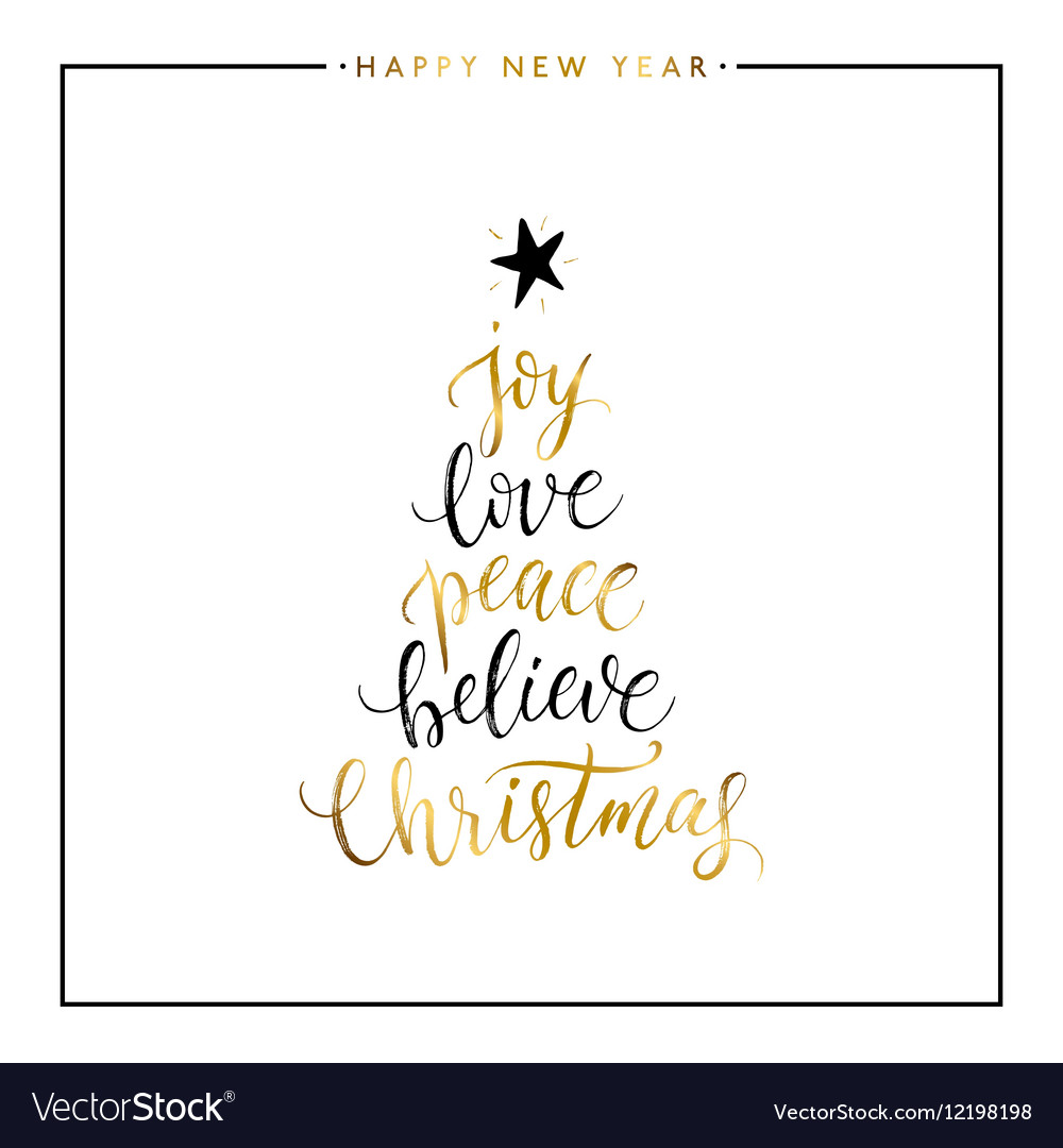 Download Joy love peace believe Christmas gold text Vector Image