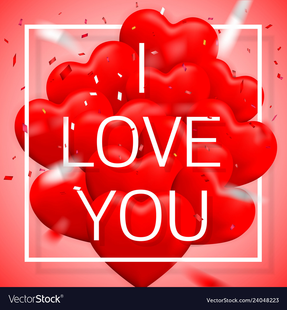 Download I love you happy valentines day red balloon in Vector Image
