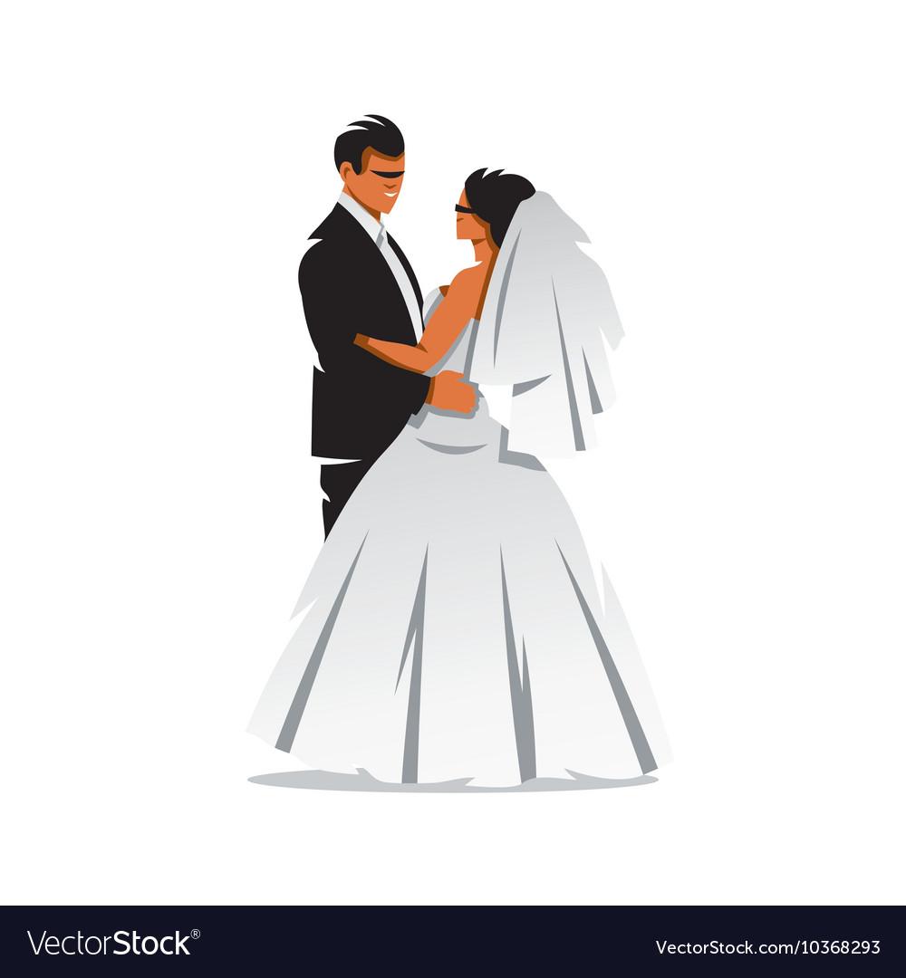 hight resolution of bride and groom cartoon vector image