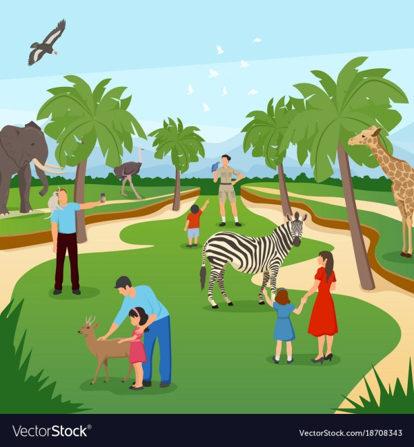 Zoo Cartoon Background Royalty Free Vector