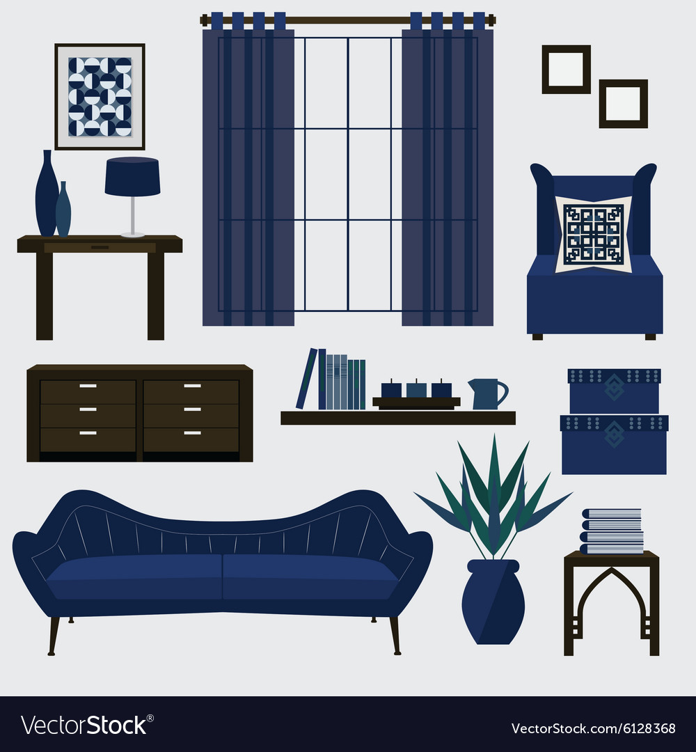 navy blue living room furniture grey carpet ideas and accessories in vector image