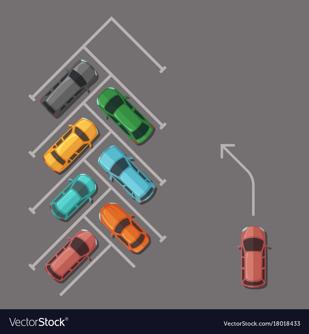 hight resolution of car parking lot top view vector image