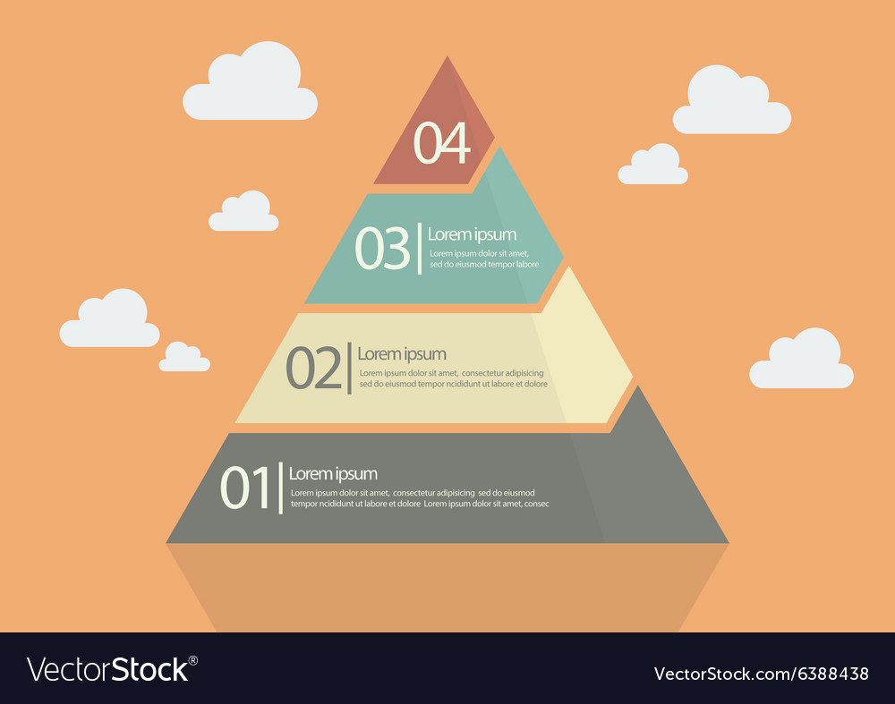 hight resolution of four step pyramid diagram vector image