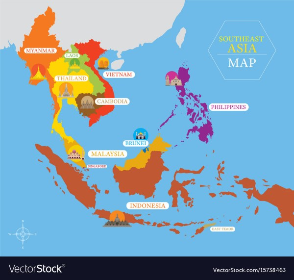 Southeast asia map with country icons and location