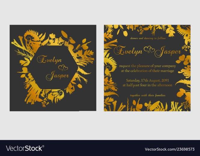 Set Of Wedding Invitations On A Dark Black Gray