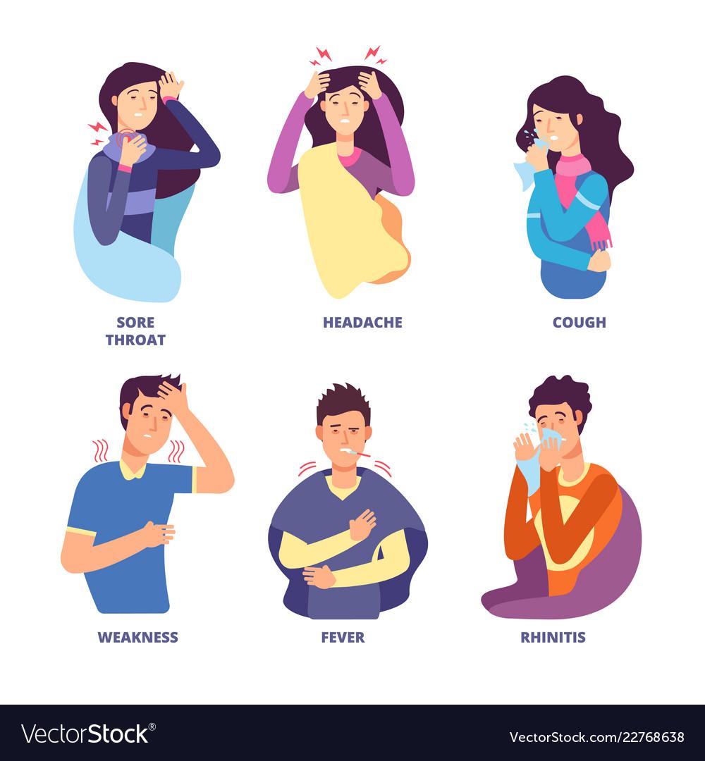 Flu symptoms people demonstrating cold sickness Vector Image