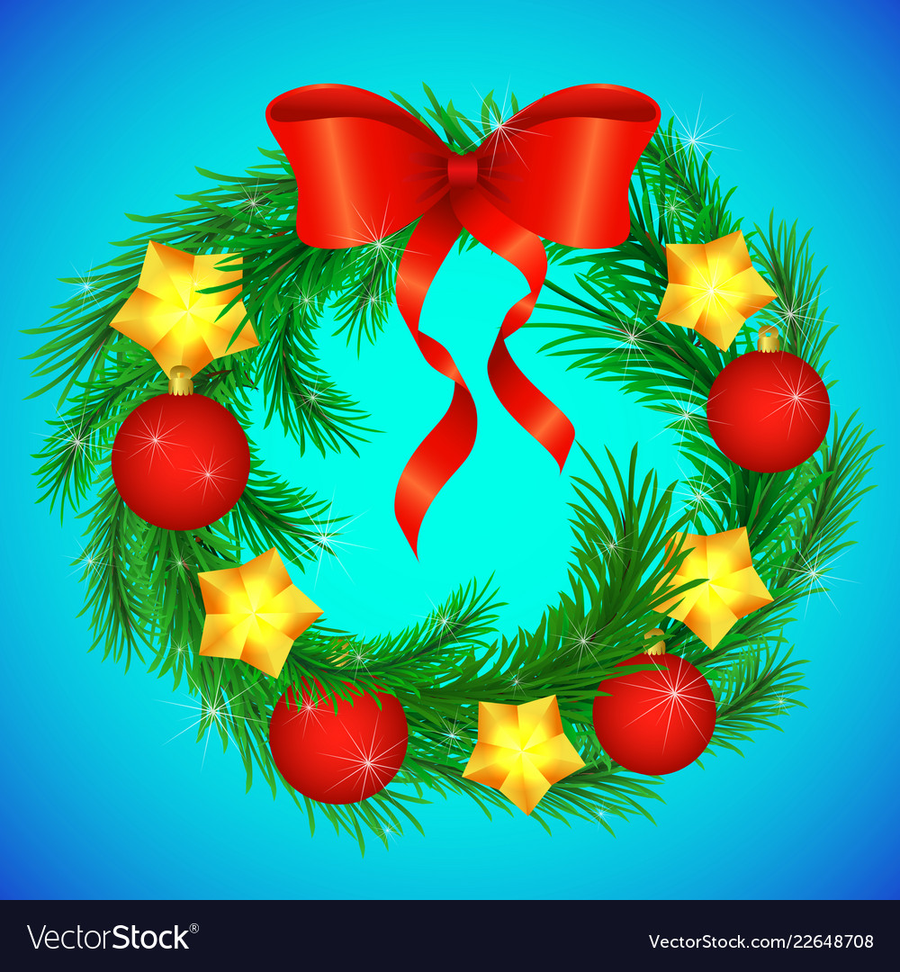 christmas wreath decorated with