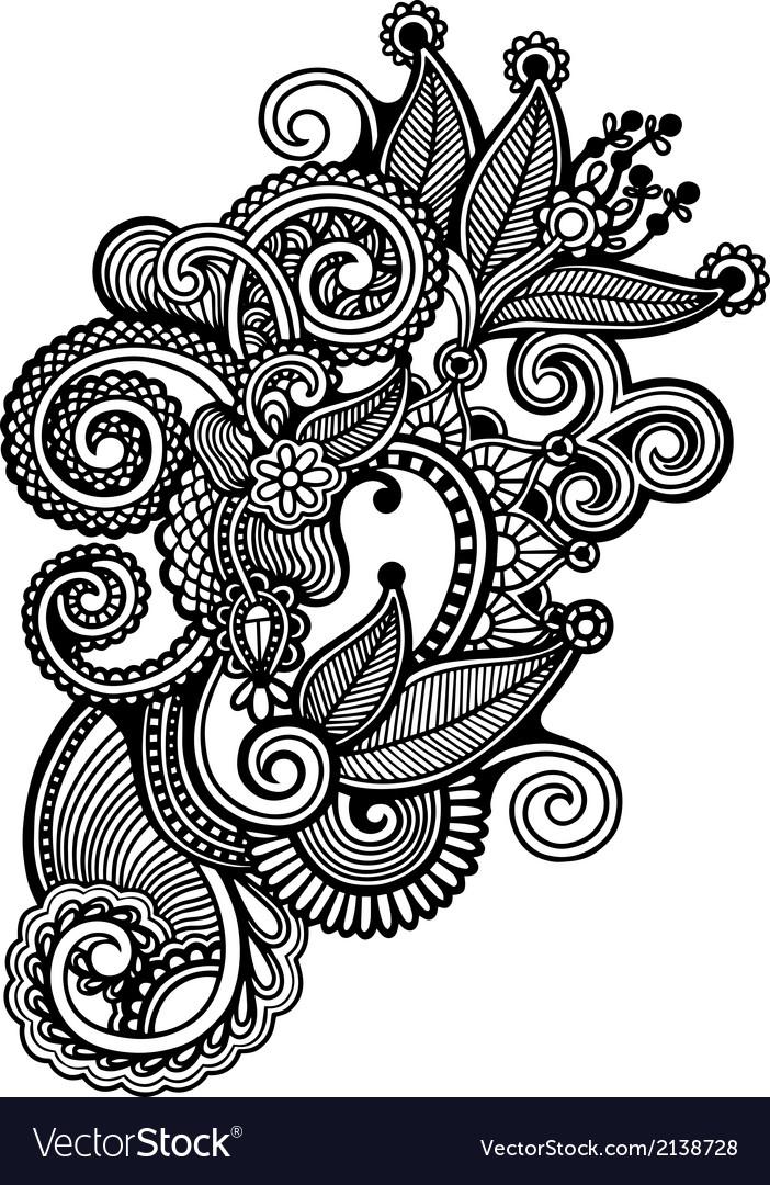 Hand Draw Line Art Ornate Flower Design Royalty Free Vector