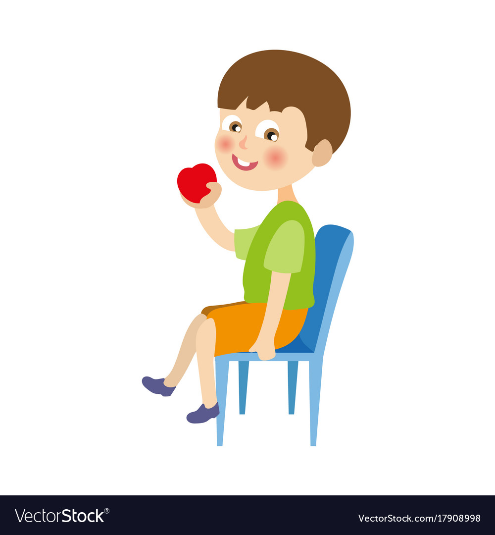 Boys Chair Flat Boy Sitting At Chair Eating Apple