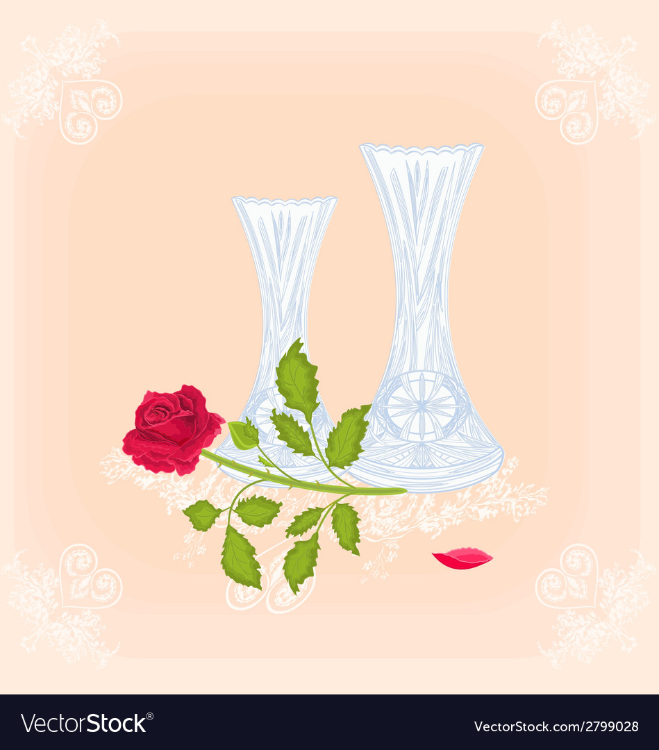 vases and rose as